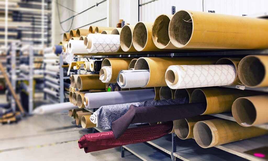 rolls of fabric, factory, material